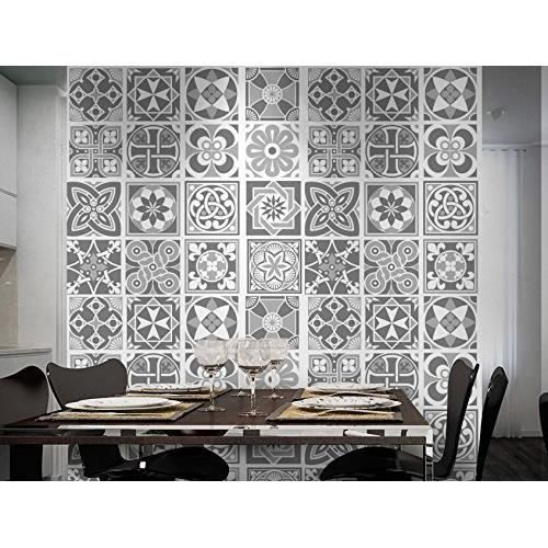 pack de 48 stickers muraux motif carreaux gris achat vente stickers cdiscount. Black Bedroom Furniture Sets. Home Design Ideas