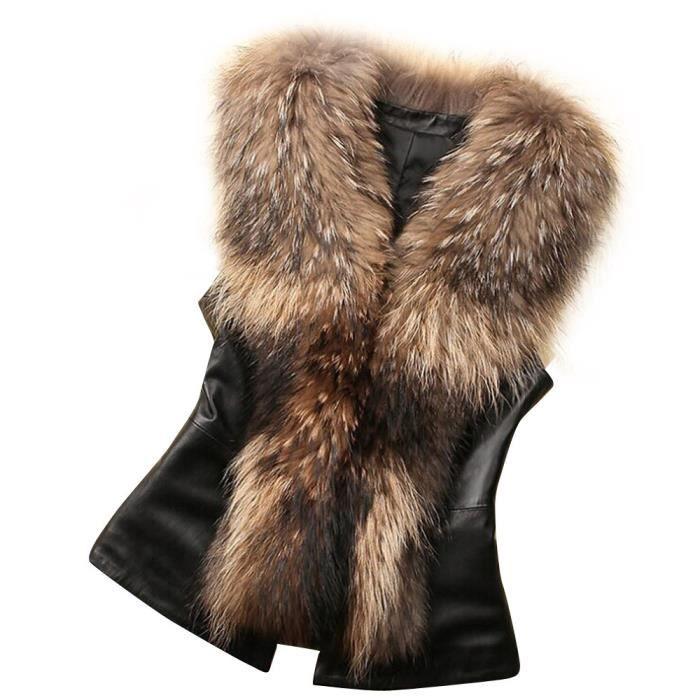 GL SUIT Gilet en Fausse Fourrure de Femmes Dames Corps Hiver Chaud Gilet Filles mi-Longues Manches Veste Mode Shaggy Cardigan Ouvert Gilet Gilet Outwear