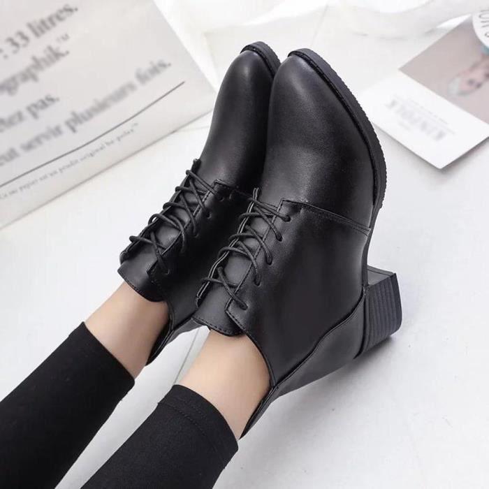 Hotskynie®Bottes en cuir Bottes de cheville Bottes Vintage épais court Bottes femme LYH80821412BK35 Noir