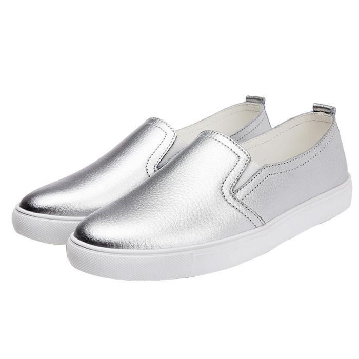 Femmes Ballet Mode Cuir Chaussures Flats Slip On Mocassins Chaussures bateau Mocassinsargent