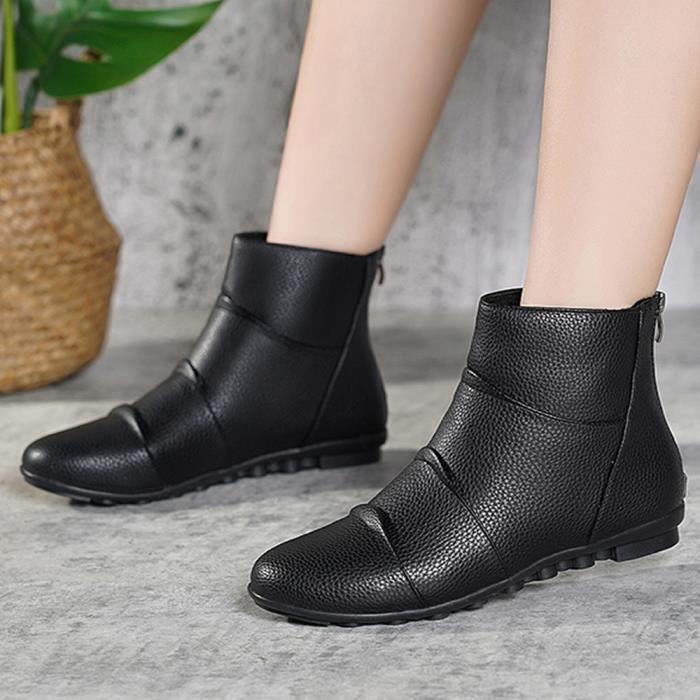 Mode Femme Retro Retour Fermeture à glissière à bout rond pois Chaussures plates talons bas botte courte _vebegre1808