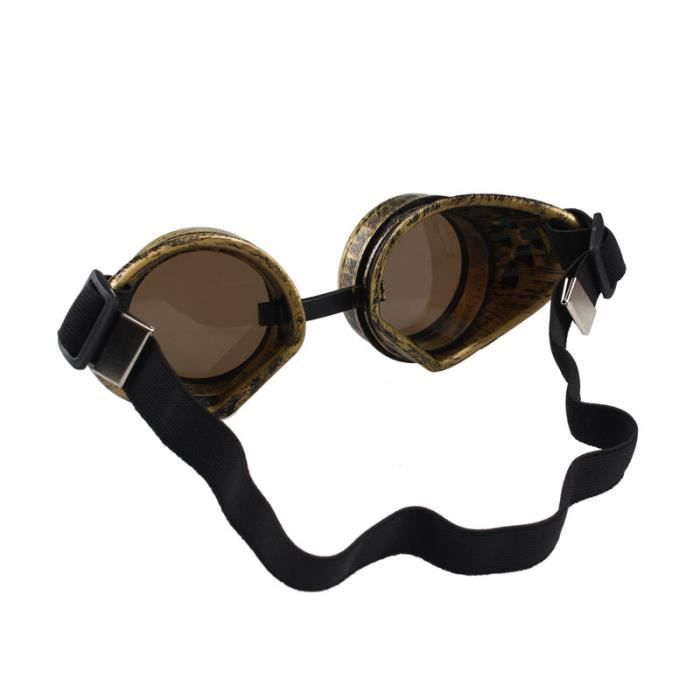 242 Lunettes Vintage Style Steampunk Lunettes Welding Punk Cosplay - Jaune