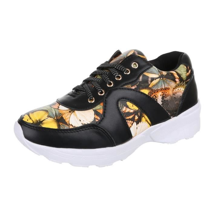 Femme chaussures loisirs chaussures Sneakers chaussures de sport noir Multi 41
