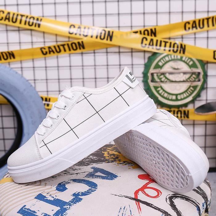 Femmes femmes lacent bout rond plat Casual Mocassins Plaid Sneaker Chaussures de toile veberge@8105