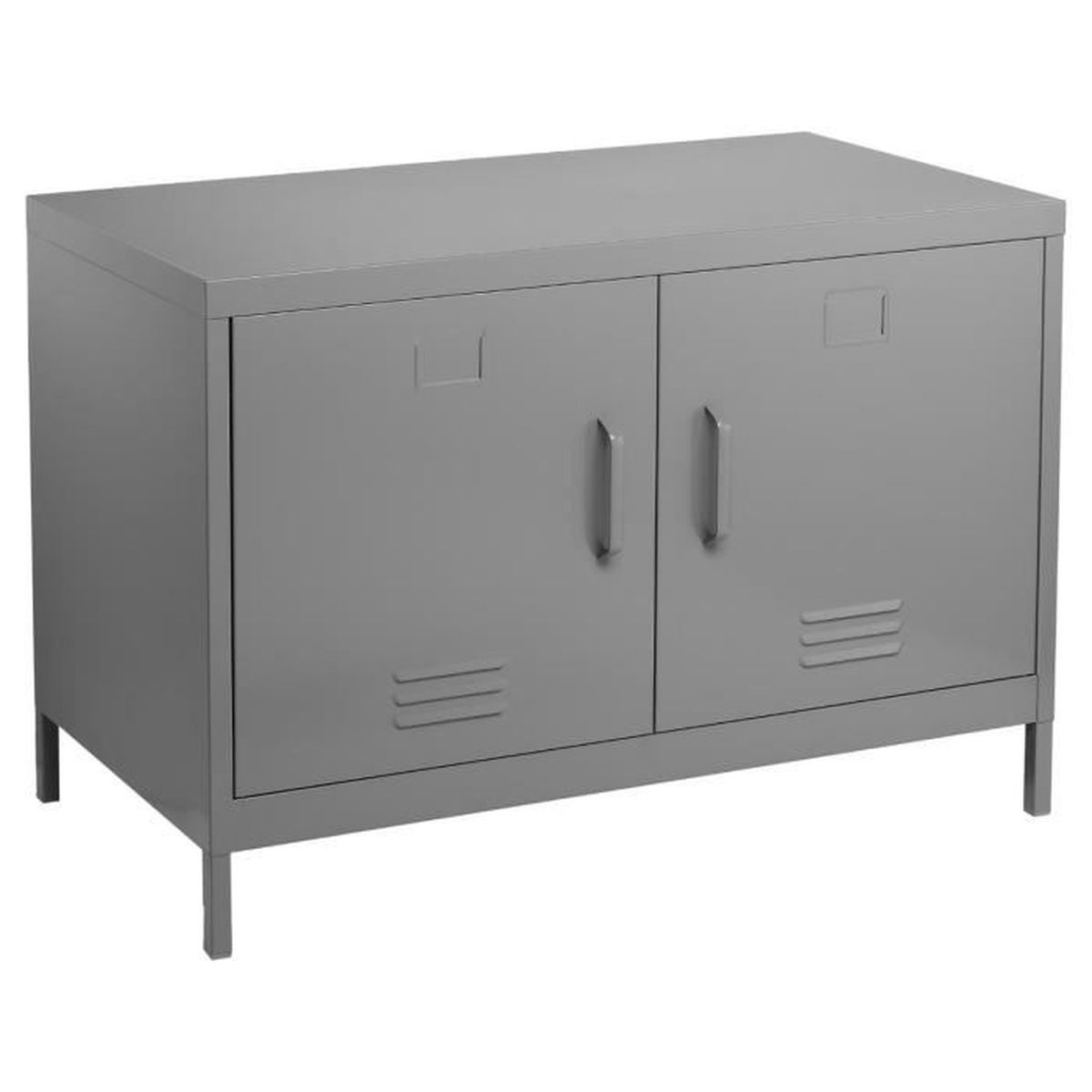 meuble console buffet bas de rangement 2 portes coloris gris achat vente buffet bahut. Black Bedroom Furniture Sets. Home Design Ideas
