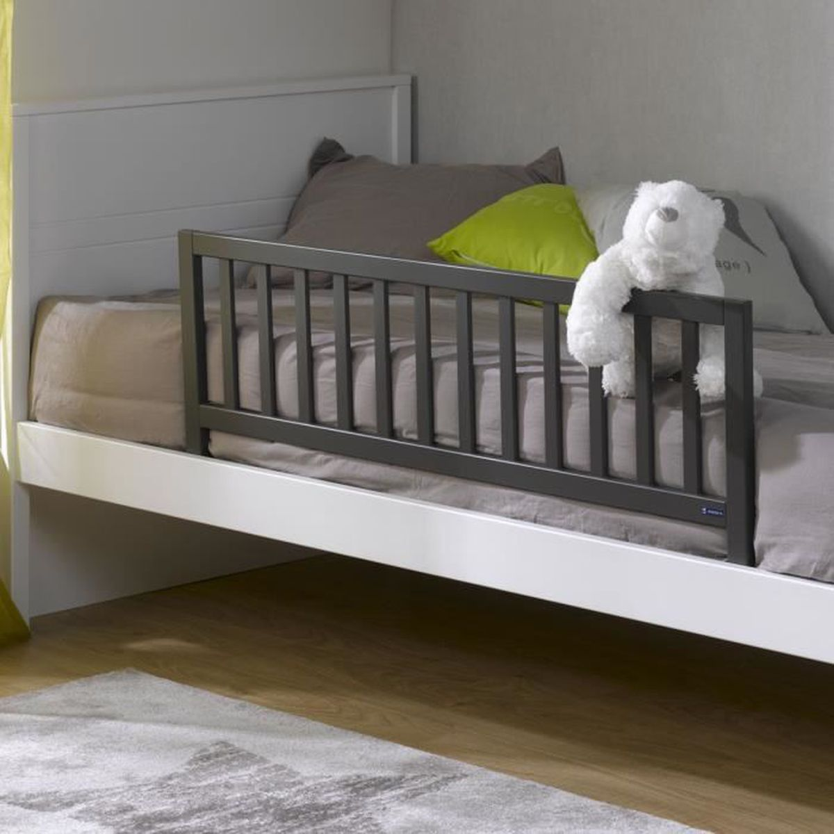 barriere de lit enfant en bois gris anthracite gris anthracite achat vente barri re de lit. Black Bedroom Furniture Sets. Home Design Ideas