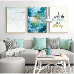 Abstrait Marine Peinture Moderne Poster Bleu Océan