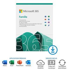 BUREAUTIQUE À TÉLÉCHARGER Office 365 Famille à télécharger - Abonnement 1 an