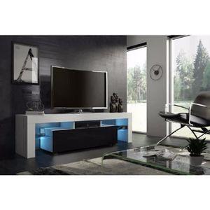 MEUBLE TV Meuble tv 160 cm  blanc mat et noir laqué  avec le