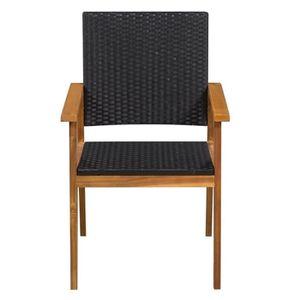Haute qualité Magnifique Economique Chaise de jardin 2 pcs Résine tressée  56x61x88cm Noir et marron