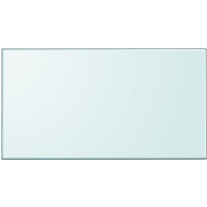 Dessus de table rectangulaire en verre trempé 1200 x 650 mm