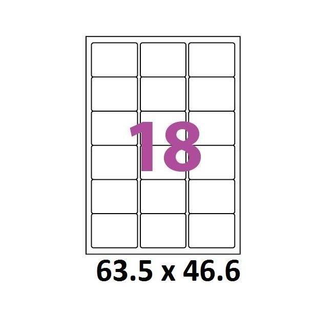50 planches de 18 = 9000 étiquettes 63,5 x 46,6 mm