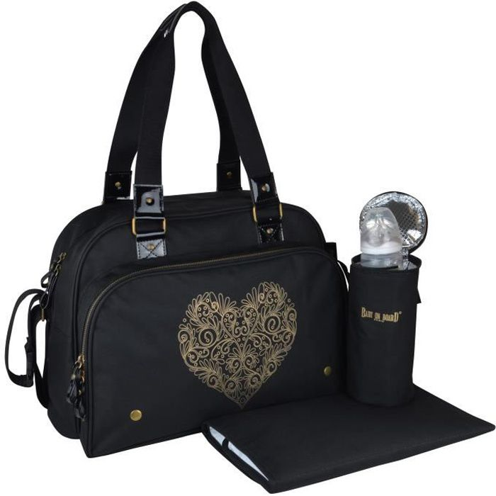 BABY ON BOARD Sac à langer Simply Premium + accessoires - Noir cœur doré