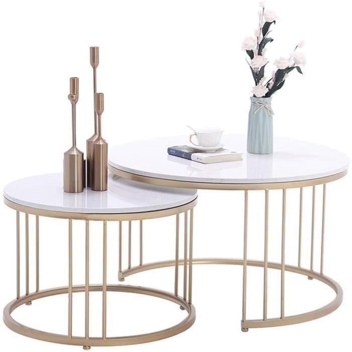 Tables de jardin Salon Moderne Côté café Set de Table, Fer forgé Fil Table Stand, Table de marbre Naturel, Affichage com 100904