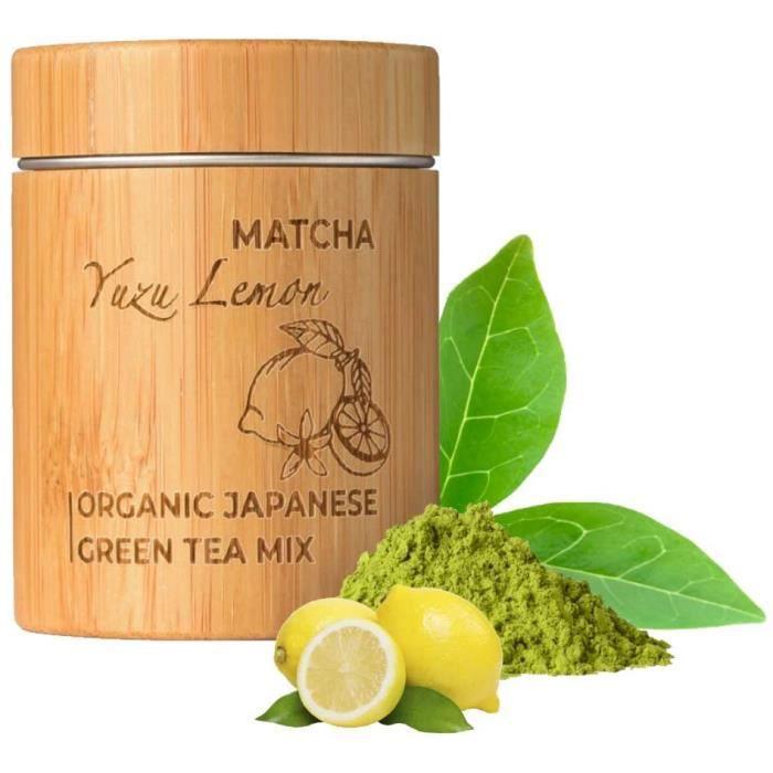 Thé Matcha Yuzu Citron Bio - Premium Qualité - Cérémonie Thé Vert en Poudre - Froid ou Chaud, Latte, Smoothie - Boîte Bambou 30g