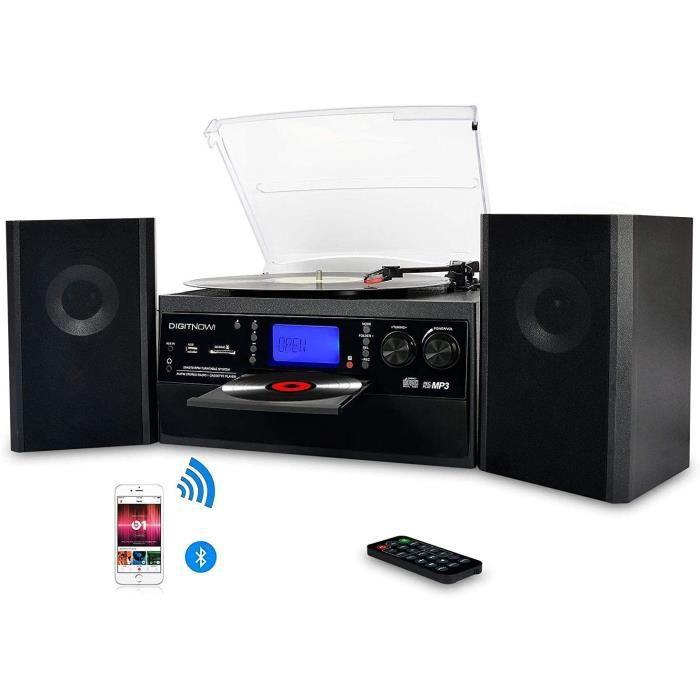 DIGITNOW! Platine Vinyle Bluetooth USB mp3 et Fonction Encodage Classique Lecteur CD avec CD Cassette Radio 33/45/78 RPM avec Deux H