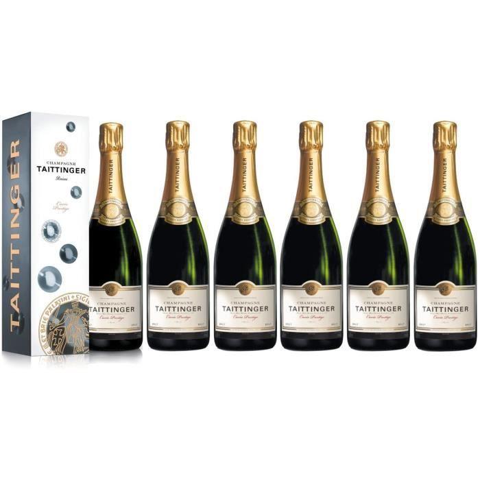Lot de 6 Champagnes Taittinger Brut Cuvée Prestige 75cl avec étuis.