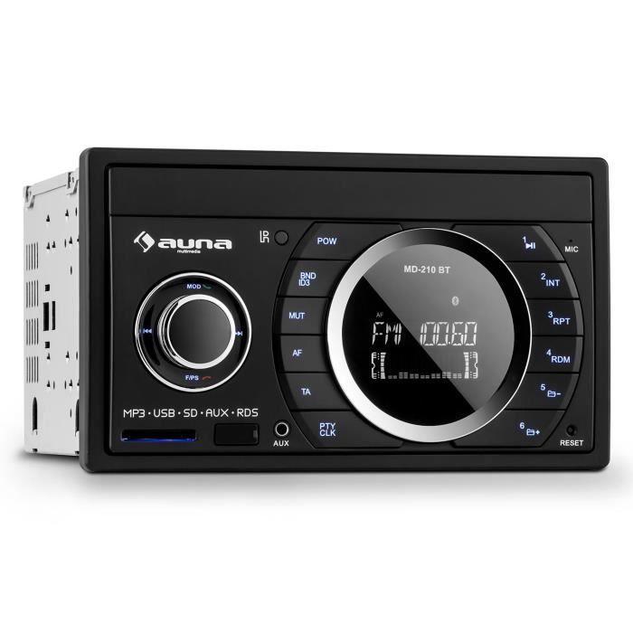 auna MD-210 BT - Autoradio Bluetooth avec tuner FM RDS, ports USB et SD pour lecture MP3 (entrée AUX, 2 DIN, 4 x 75W)