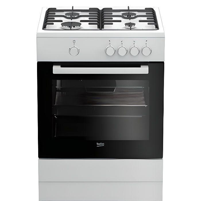 Beko FSG62000DW, Cuisinière, Blanc, Rotatif, Devant, émail, Cuisinière à gaz