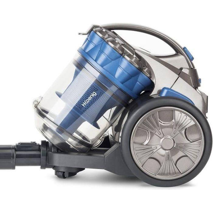 H.Koenig STC68 Aspirateur Multi Cyclonique sans Sac Compact Bleu