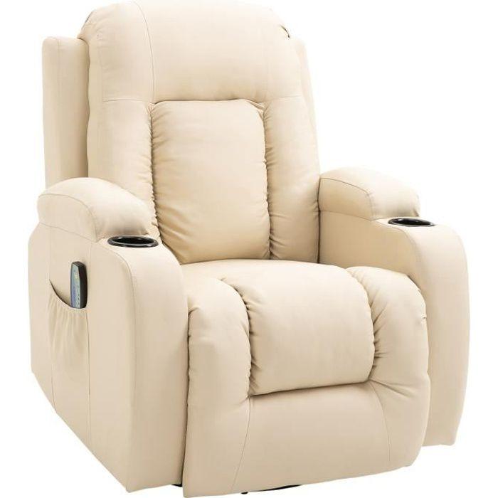 Fauteuil de massage et relaxation électrique chauffant inclinable repose-pied télécommande crème 90x93x103cm Crème