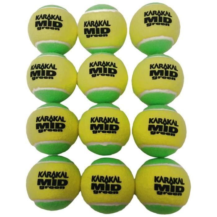 Karakal Unisexe Vert Moyen Balles de Tennis de Faible Compression, Sac DE 12, Vert-Vert