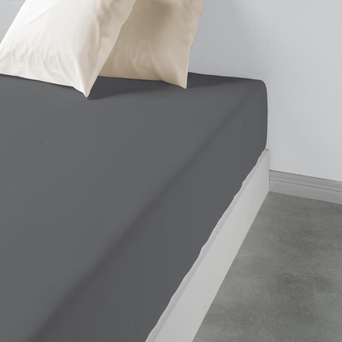 Drap housse uni Coton gris fonce 160 x 200 x 35 cm Les Ateliers du Linge 160 X 200 X 35 GRIS FONCE