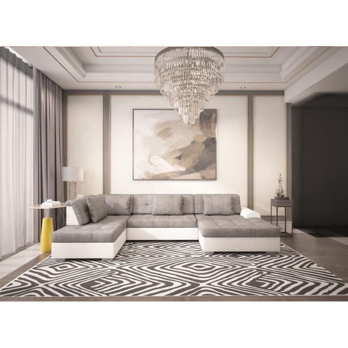 Canapé panoramique convertible LIBERTA angle gauche gris blanc