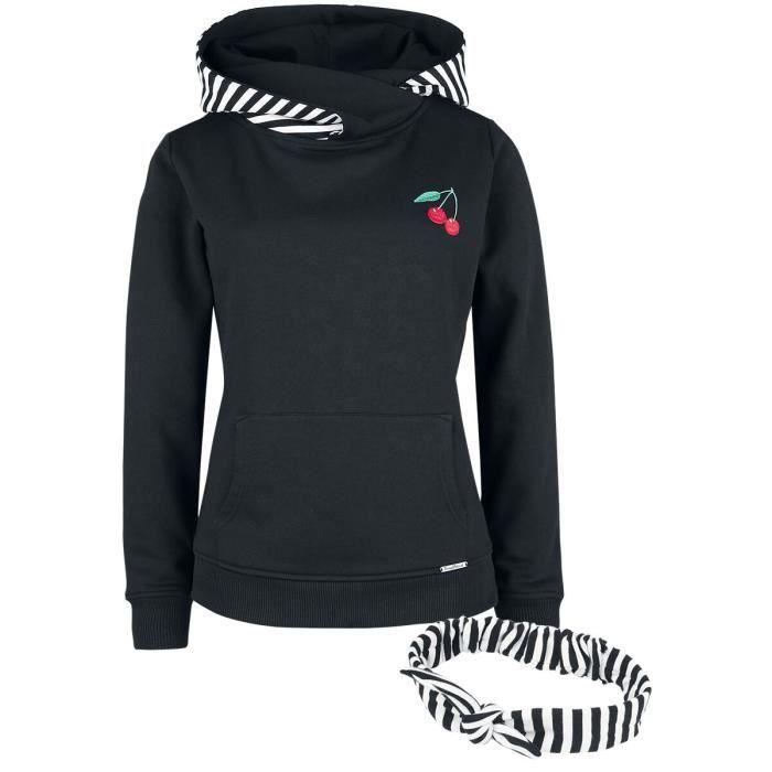 Pussy Deluxe Sweat Col Châle Rayé & Bandeau Femme Sweat-shirt à capuche noir/blanc