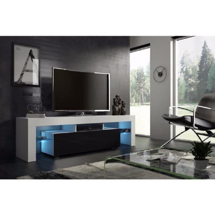 Meuble tv 160 cm blanc mat et noir laqué avec led RGB