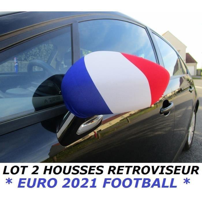 * EURO 2021 * PACK 2 HOUSSES RETROVISEUR VOITURE DRAPEAU FRANCE FRANCAIS no Maillot Écharpe Fanion ...