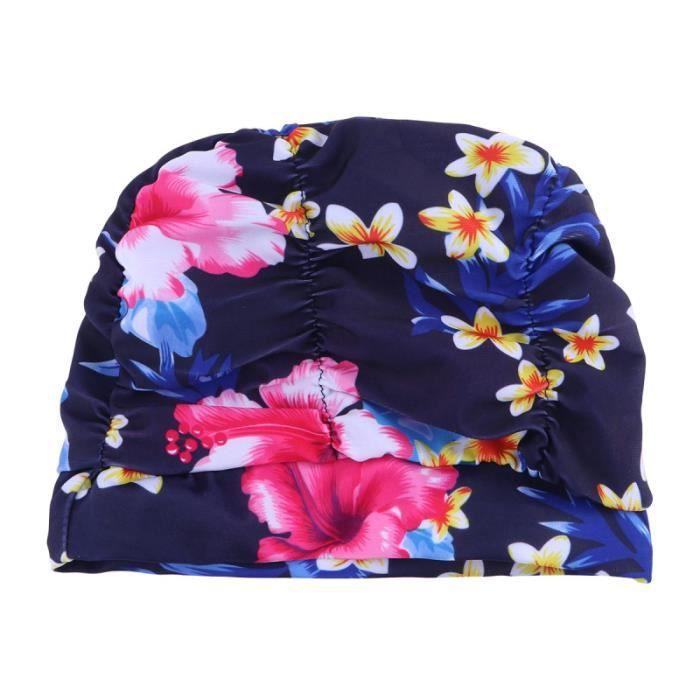1 pc élastique plissé impression fleur chapeau de bain de bonnet de oreille protecteur de natation pour les femmes