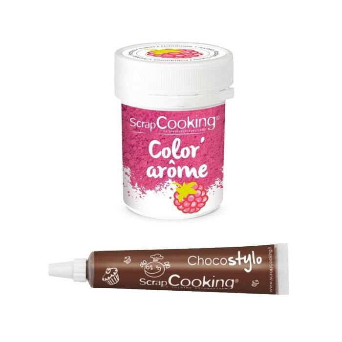 Colorant alimentaire rose arôme framboise + Stylo chocolat