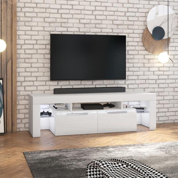 Meuble TV 180 cm - VERGON - blanc mat / blanc brillant - avec LED