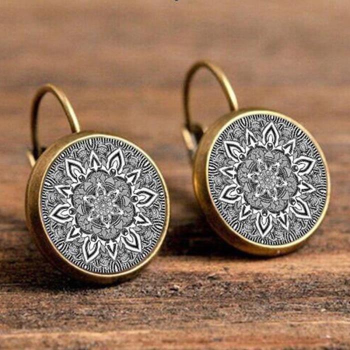 Mandala Boucles d'oreilles en verre Bronze Boucles d'oreilles Bouddhisme Zen Henna Yoga Boucles d'oreilles pour femmes