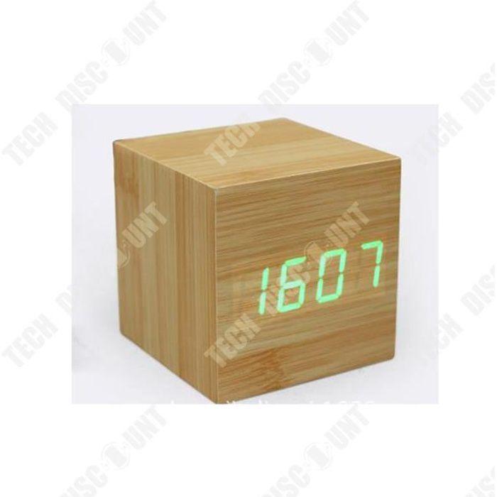 TD® réveil en bois cube numérique led horloge enfant matin lumineux de voyage digital petite thermometre gros chiffres design pas ch