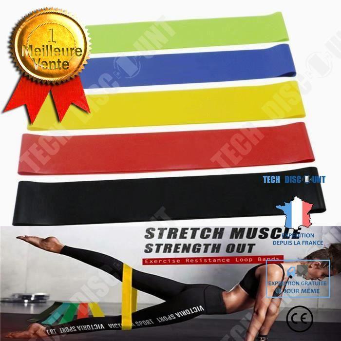 TD® Pack de 5 bandes de résistance anti frottement épaisse fitness exercice squat jambes sport fessiers entrainement physique