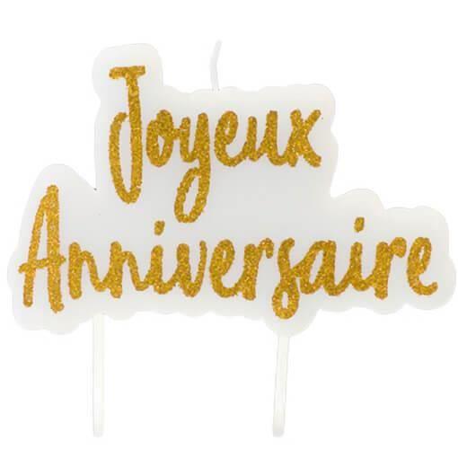 Décoration gâteau anniversaire avec 1 bougie blanche et dorée R/BGA1012