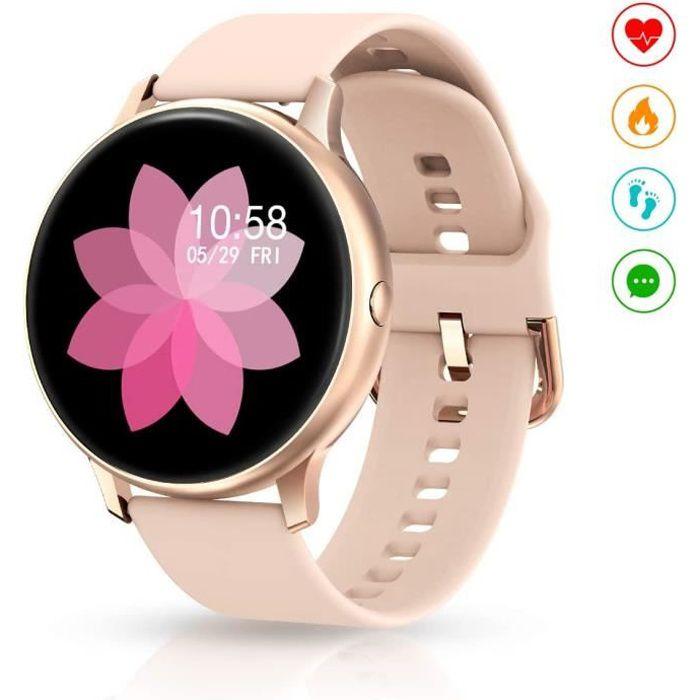 Montre Connectée, Montre Intelligente Femme Smartwatch Bracelet Connecté Tracker d'activité Montre Sport Fitness Fréquence Cardiaqu