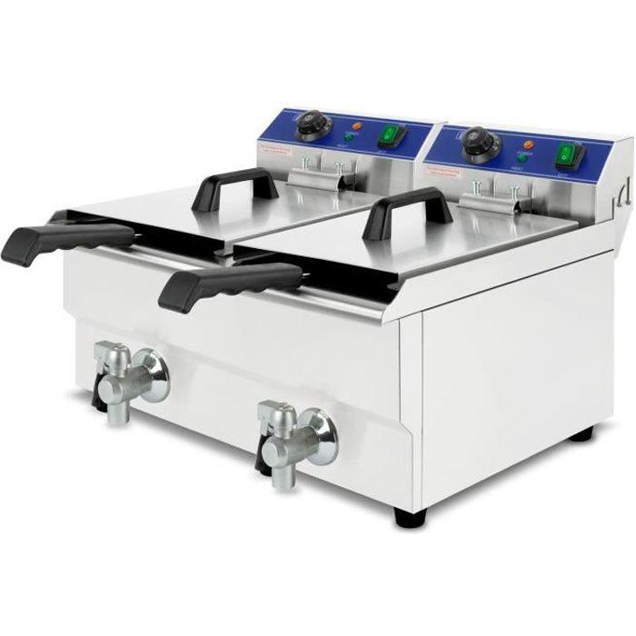 vertes Friteuse 2x13L (capacité 2x8 litres d'huile, principe des zones froides, vanne de vidange, acier inoxydable)