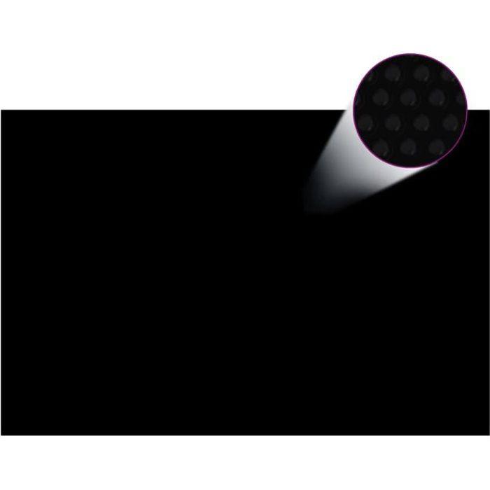 Bâche solaire à bulles flottant pour piscine 6x4m noir Rectangulaire