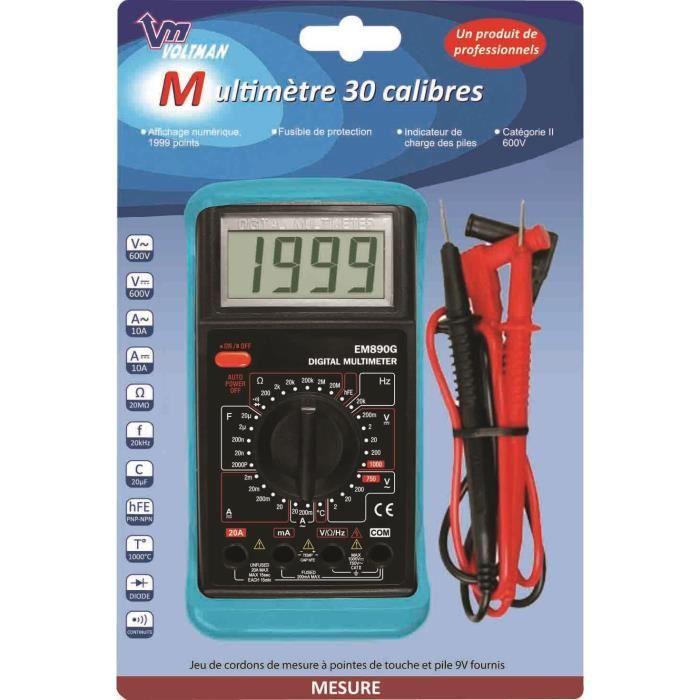 VOLTMAN Multimètre numérique 30 Calibres
