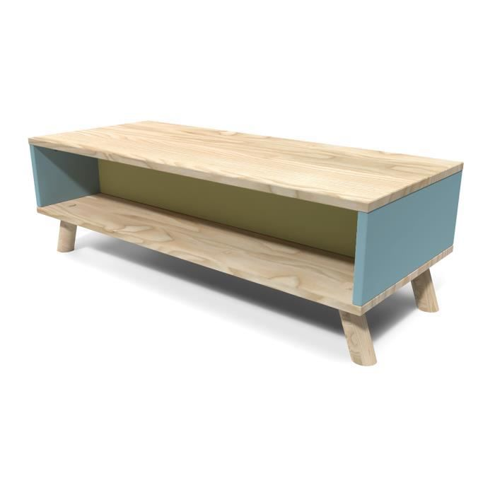 Table basse scandinave rectangulaire viking bleu pastel et for Table basse scandinave bleu