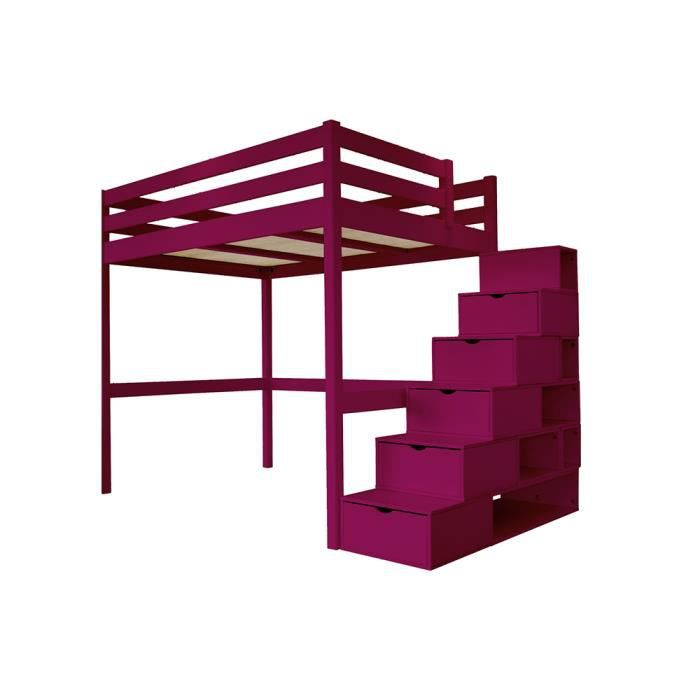lit mezzanine sylvia avec escalier cube bois couleur prune dimensions 90x200. Black Bedroom Furniture Sets. Home Design Ideas