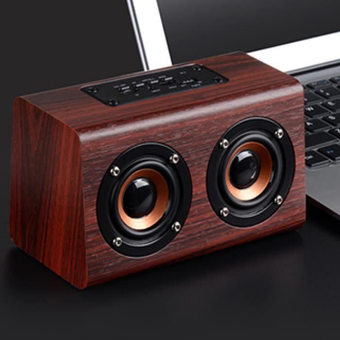 ENCEINTES Rétro bois Haut-parleurs 3D double HIFI parleur sa