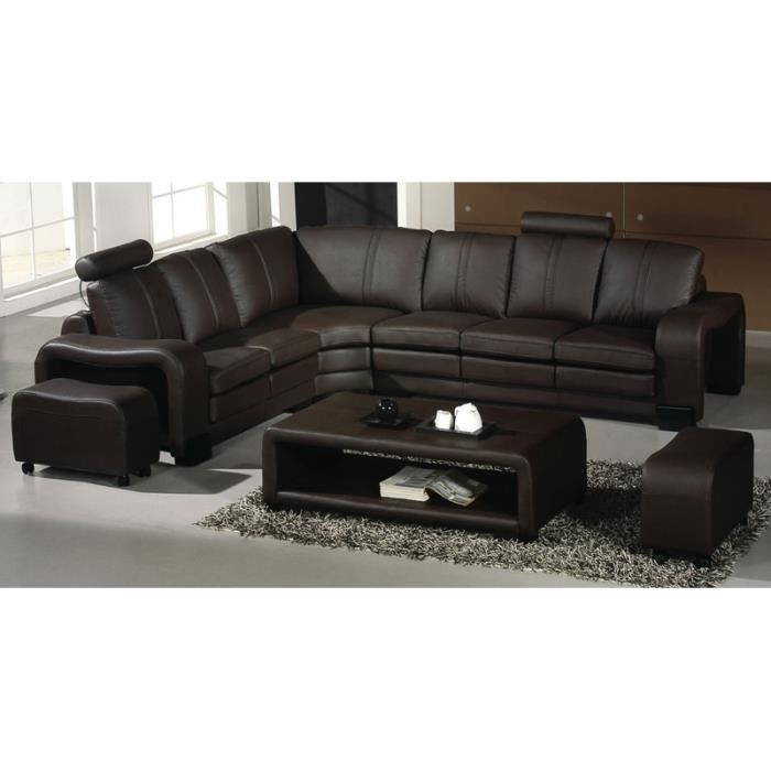 canap d 39 angle en cuir marron 2 poufs relax dallas achat vente canap sofa divan. Black Bedroom Furniture Sets. Home Design Ideas