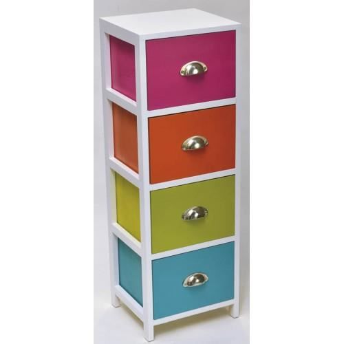 meuble 4 tiroirs avec poignees multicolor achat vente petit meuble rangement meuble 4. Black Bedroom Furniture Sets. Home Design Ideas
