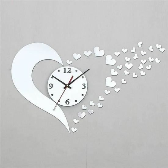 diy sticker horloge mural coeur design salon mirroir stickers muraux enfant d coration moderne. Black Bedroom Furniture Sets. Home Design Ideas