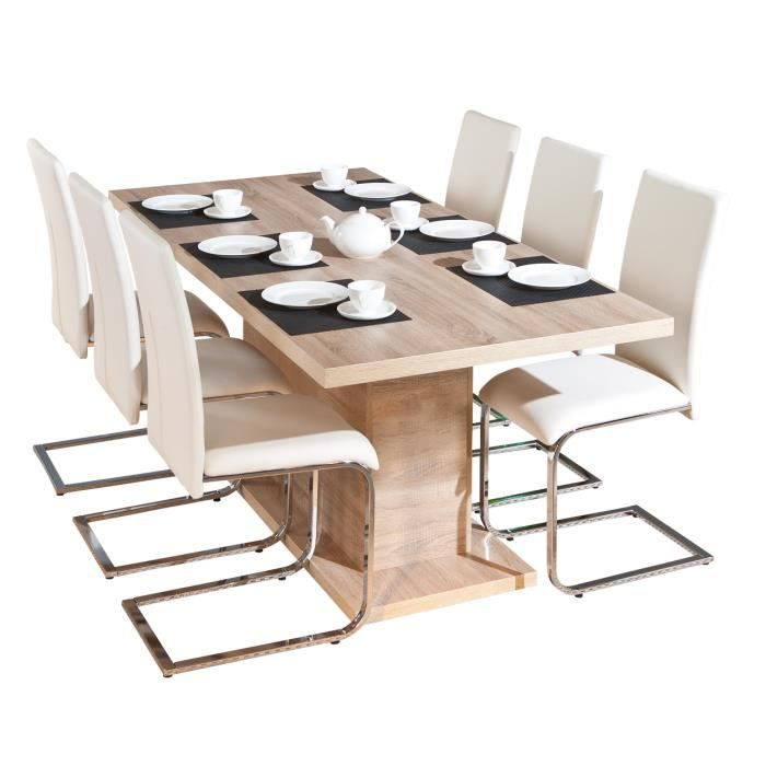 Myca table pied central avec allonge achat vente for Table salle a manger pied central