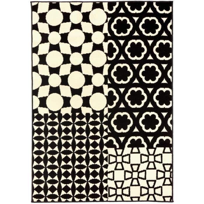 benuta tapis patchwork swing noir blanc 120x170 cm achat vente tapis cdiscount. Black Bedroom Furniture Sets. Home Design Ideas
